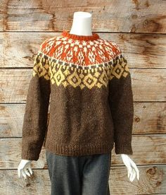 1960s hand knit Nordic sweater.