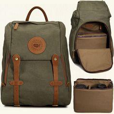 Vintage DSLR SLR Waterproof Canvas Camera Backpack Rucksack Leather Bag Padded #Unbranded