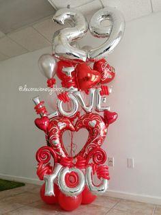 Decoraciones Globos Valentine Bouquet, Valentine Tree, Birthday Bouquet, Balloon Decorations Party, Wedding Decorations, Birthday Numbers, 21 Birthday, Valentines Balloons, Mother's Day Gift Baskets