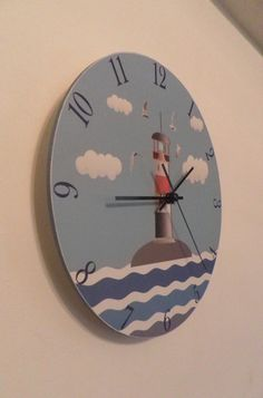 Lighthouse clock. Modern clock. Hall Lobby Boy room by Birdsland