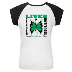 Liver Cancer Awareness Cap Sleeve T-Shirts featuring our original butterfly ribbon design to support, advocate and hope for a cure $19.99 awarenessribboncolors.com