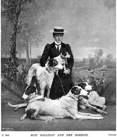 """""""Miss Halladay and her borzois,"""" from Country Life Illustrated, 1899. #borzoi"""