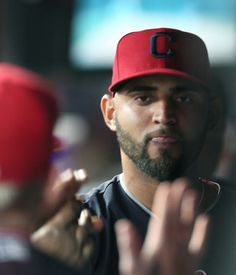 Cleveland Indians Danny Salazar get congrats from catcher Roberto Perez in the Indians dugout after Salazar went 7 innings and pitched a shutout game against the Toronto Blue Jays at Progressive Field, on July 22. 2017. The Indians led 1-0 when Salazar was replaced by Andrew Miller in the 8th inning. (Chuck Crow/The Plain Dealer). Indians won 2-1 in the 10th with a Lindor walk off HR.