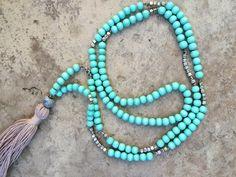 Bohemian / Boho necklace tassel necklace mala by madaboutmint