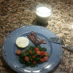 It never fails to please. Presenting my Go-To Breakfast: Poached eggs sautéd spinach and grape tomatoes and a side of crispy bacon. Fills me up and gives me power! Zoom! Zoom!  #dontforgetthemilk #gotmilk #cleaneating #cleanbreakfast #eggs #spinach #bacon # eggpoachersrock