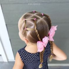 I don't do nearly as many elastic styles as I used to, so here's one for those of you who can't french/dutch/etc braid! This style reminds me of 2 cute kites! Elastics, rope twists, and braids!  Toddler hair ideas