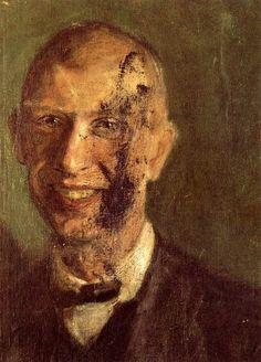 'fragment von einem `smiling` selbstporträt bei voll länge, detail', 1904 von Richard Gerstl (1883-1908, Austria)