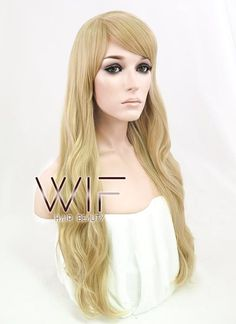 "27"" Long Wavy Blonde Fashion Synthetic Hair Wig WIG124"