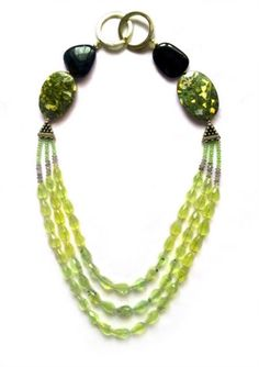 Jameela -This meticulously designed necklace can be worn casually with its serene colours and the fine cut of the Prehnite allows it to also be worn in the evening #jewellery