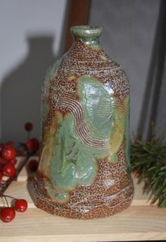 Green Silver and Brown Spotted Clay Bottle Modern by PranaPottery, $125.00