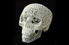"""Most 3-D printers are used at the engineering stage of a project, but they can create finished goods, too, especially when the creator only plans to do a limited production run. The """"Crania Anatomica Filigre"""" is the third most funded art project in Kickstarter history and required artist Joshua Harker to produce 894 plastic skulls using a 3-D printer."""