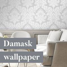 Damask Wallpaper, Curtains, Interior Design, Elegant, Home Decor, Nest Design, Classy, Blinds, Decoration Home