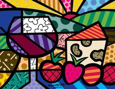Wine and Cheese pop-art by Romero Britto Mondrian, Wine Art, Colorful Paintings, Kandinsky, Psychedelic Art, Copics, Painting For Kids, Matisse, Art Lessons