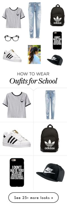 Casual school ootd by lizzyvazquez on Polyvore featuring Chicnova Fashion, Dsquared2, adidas, adidas Originals and NIKE