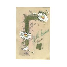Hand Painted Celluloid OOAK Postcard, French Antique one-of-a-kind Card, Green White Clover Daisy Flowers