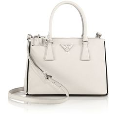 Prada Saffiano Lux Small Double-Zip Tote ($1,990) ❤ liked on Polyvore featuring bags, handbags, tote bags, purses, totes, apparel & accessories, double zip tote, white leather tote, prada tote and leather tote