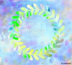 """Download the royalty-free photo """"Abstract Summer watercolor background. Pattern with green leaves frame. Artistic holiday watercolor illustration."""" created by sofiartmedia at the lowest price on Fotolia.com. Browse our cheap image bank online to find the perfect stock photo for your marketing projects!"""