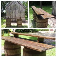 A very versatile whiskey barrel bar.