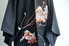 Boho Kimono, Kimono Cardigan, Kimono Jacket, Japan Outfit, Short Kimono, Japanese Embroidery, Japanese Kimono, Vintage Japanese, Bell Sleeve Top