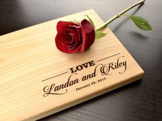 Monogram Cutting Board Custom Wedding Gift by TrueMementos on Etsy