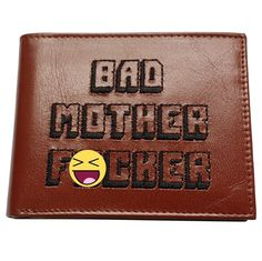 Bad Mother F_cker Embroidered Brown Leather Wallet Pulp Fiction Jules Winnfield Mofo Movie Quentin Tarantino Samuel L Jackson F&cker Mens by MyPartyShirt on HeartThis