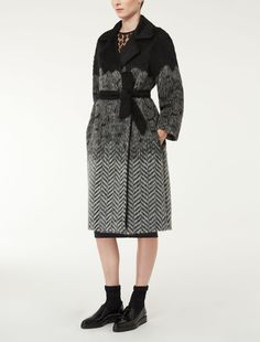 Max Mara FLASH black: Alpaca and wool jacquard coat.