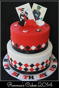 The Joker and Harley Quinn 18th Birthday Cake.  Happy Birthday Puddin'