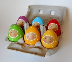 Egg Babies Set of 6 Wooden Egg Dolls Wooden Baby by 2HeartsDesire Proudly Made With Our Hands