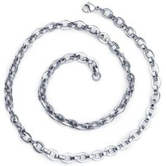 cb69bc2b40b2 Simply Stunning: ?Unisex Stainless Steel Rolo Oval link 22 inch Chain  Necklace Peora. $34.99