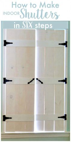 I love how these shutters give such a fabulous rustic farmhouse look. How to Make DIY Indoor Shutters - a step by step tutorial house window shutters How to make wooden shutters in SIX steps! Diy Shutters, Indoor Window Shutters, Diy Interior Window Shutters, Bedroom Shutters, Inside Shutters For Windows, Decorating With Shutters, Exterior Shutters, Decorating Ideas, Diy Furniture
