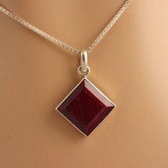 Genuine Ruby pendant  Red pendant  Bezel pendant  by Studio1980, $165.00