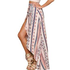 A high waisted, patterned maxi skirt that ties at the waist. Super girly and super sexy, we know you'll love this skirt as much as we do! Falls to the ankle and made with spandex and polyester.