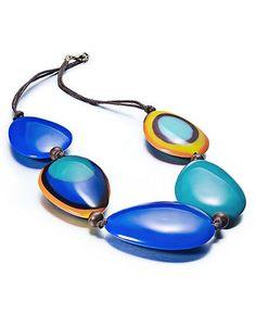 Style Necklace, Blue Acrylic Beaded Statement Necklace - Fashion Jewelry - Jewelry & Watches - Macy's