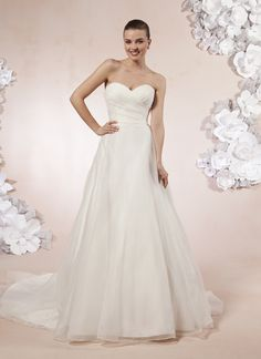 Sweetheart Gowns sweetheart style 5986 A sweetheart neckline in pleated organza with a natural waist on this  ball…