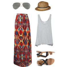 "Ray-Bans, Joie Ira top, Alice and Olivia tribal mial skirt, O'Neill Ipanema sandal - ""Untitled #8"" by aylaavant on Polyvore"