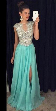Long Prom Dress with Slit, Prom Dresses, Graduation Party Dresses, Formal Dress For Teens, BPD0287