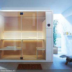Wer hätte nicht gern eine Sauna im Badezimmer? Mehr Wellnessideen für Zuhause gibt es auf www.roomido.com