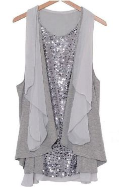 To find out about the Loose Sequin Chiffon Dress Grey at SHEIN, part of our latest Dresses ready to shop online today! Look Fashion, Fashion Beauty, Fashion Outfits, Chiffon Dress, Chiffon Tops, Chiffon Shirt, Gray Dress, Dress Up, Get Dressed