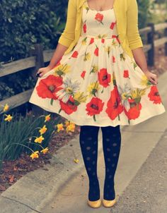 Poppy dress, yellow sweater I don't care for the tights but the rest of the outfit is adorable Cute Spring Outfits, Pretty Outfits, Pretty Dresses, Beautiful Dresses, Cute Outfits, Spring Clothes, Skirt Outfits, Looks Style, My Style