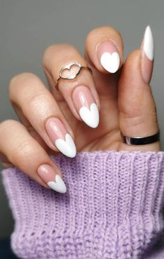 Heart Tip Nails, White Tip Nails, French Tip Nails, French Tips, Heart Nail Art, White Nail Art, Heart Nail Designs, Valentine's Day Nail Designs, Art Designs