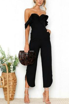 Cheap jumpsuit romper, Buy Quality overall romper directly from China overall jumpsuit Suppliers: BerryGo Sexy backless off shoulder black jumpsuit women Tiered ruffle high waist jumpsuit romper Split casual overall femme Backless Jumpsuit, Ruffle Jumpsuit, White Jumpsuit, Formal Jumpsuit, Denim Jumpsuit, Jumpsuit Style, Black Jumpsuit Outfit Night, Cream Jumpsuit, Black Dress Outfits