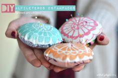 actitud y alegría ♥: DIY: Alfileteros (pincushions) estampados