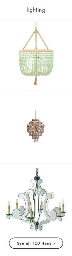 """""""lighting"""" by stephaniedsmigo ❤ liked on Polyvore featuring home, lighting, ceiling lights, chain light, cord light, chain lamp, three light, 3 bulb chandelier, handmade lamps and handcrafted lamps"""
