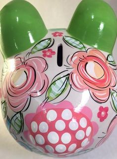 Personalized Piggy Bank for Girls, Pinks and Greens