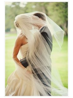 Great wedding kiss photo. I think I would zoom in more, and have sunlight in the background.