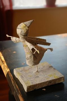 D-I-Y Christmas ice-skating figurine out of paper mache` tutorial