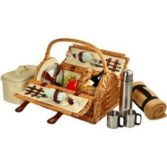 Picnic Basket for 2 with Blanket and Coffee