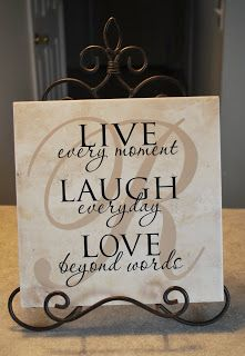 "Wall words - Cher's Signs by Design - absolutely love this - so many other plaques just say ""live laugh love"" and this is a sweet suggestion~!!"