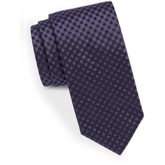 Hugo Boss Narrow Gingham Tie ($95) ❤ liked on Polyvore featuring men's fashion, men's accessories, men's neckwear, ties and purple