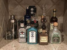 The Glam Liquor Bottle - Mini Alcohol Bottles Gifts, Bedazzled Liquor Bottles, Alcohol Bottle Decorations, Alcohol Bottle Crafts, Empty Liquor Bottles, Decorated Liquor Bottles, Bling Bottles, Tequila Bottles, Alcohol Gifts
